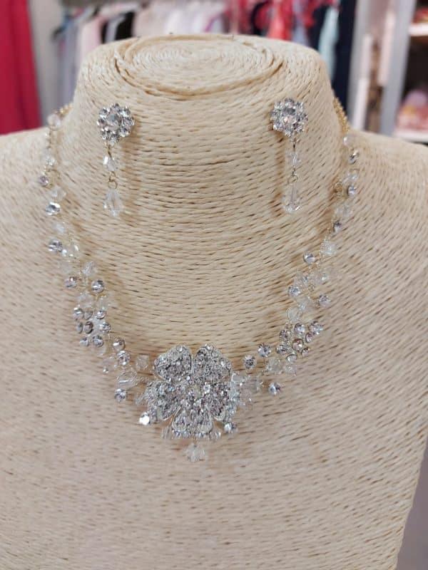 20201209 120749 - Parure collier et boucles d'oreille en perles de cristal et zirconium